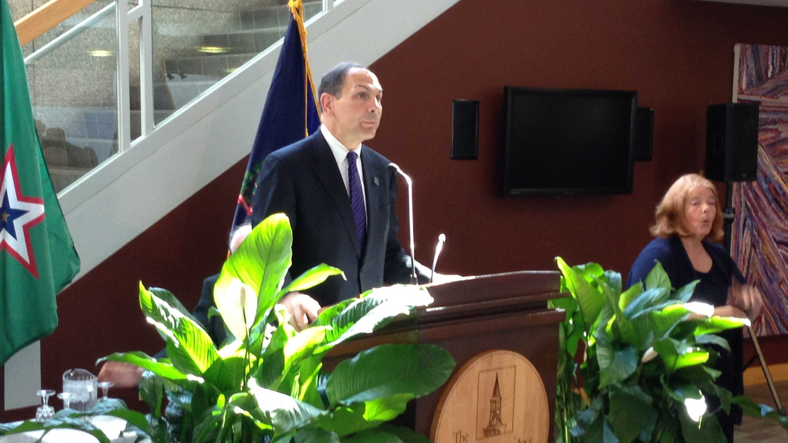 Robert McDonald, Secretary of Veterans Affairs, makes a recruitment pitch at the University of Vermont.
