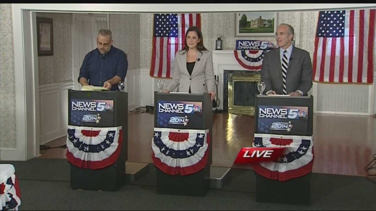 New York 21 Congressional District candidates Aaron Woolf (D), Elise Stefanik (R) and Matt Funiciello (Grn) debated Wednesday night.