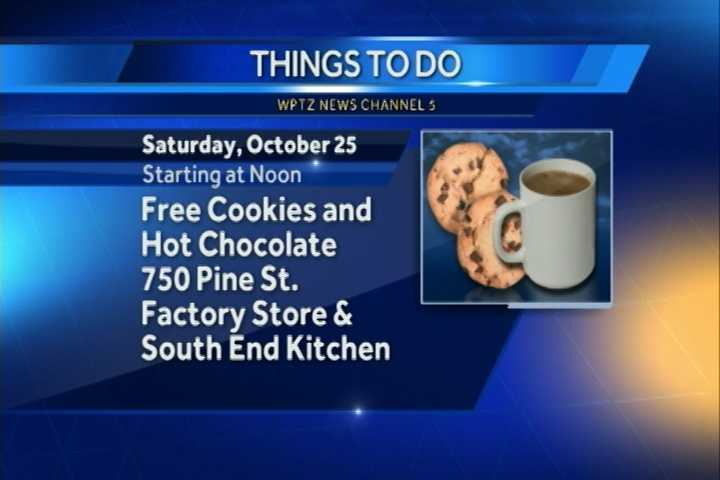 The South End Kitchen and Lake Champlain Chocolates celebrate fall with a free hot chocolate tasting and cookie-decorating event from noon to 4 p.m. You can sample hot chocolates at the 750 Pine Street factory store. Then you can head over to the South End Kitchen to decorate Halloween cookies from 1 to 3 p.m.