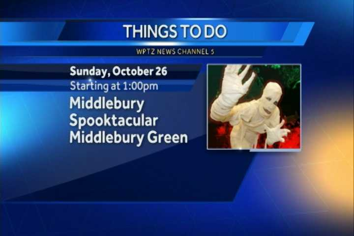 The annual Middlebury Spooktacular begins at 1 p.m. on the Middlebury Green. There will be music, dancing, costumes, games for all ages and more.