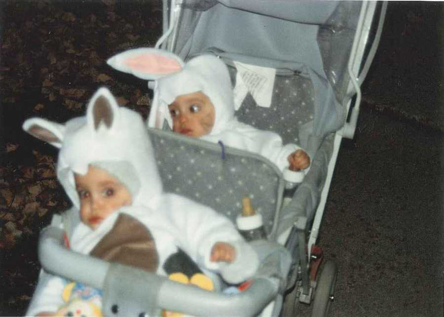 Caitlin Napoleoni and her twin sister dressed as a dog and a bunny. But it's anyone's guess who is who!