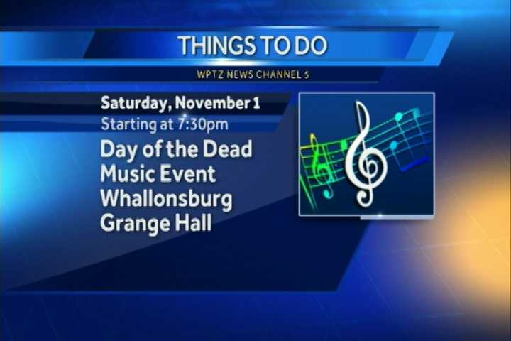 The Day of the Dead Music event begins at 730 p.m. at the Whallonsburg Grange Hall. While you're there you can check out musical performances, and Halloween-themed desserts.