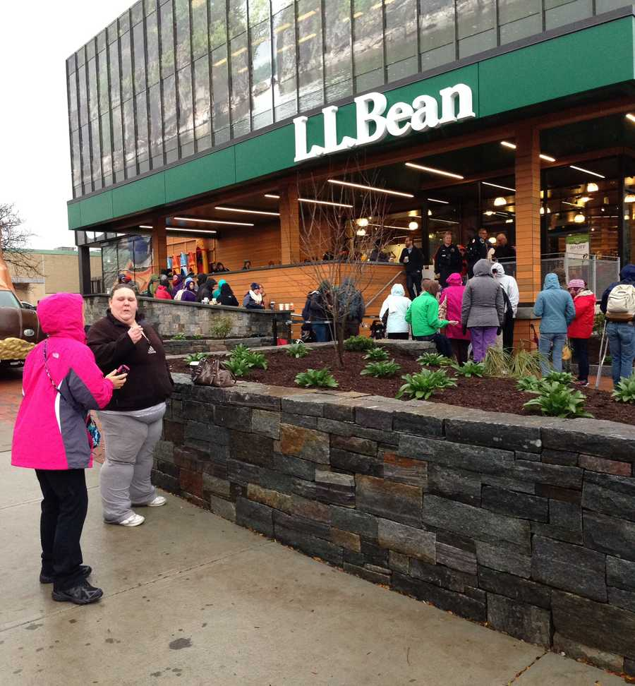 On its opening day, crowds poured into L.L. Bean, snatching up goods and deals.