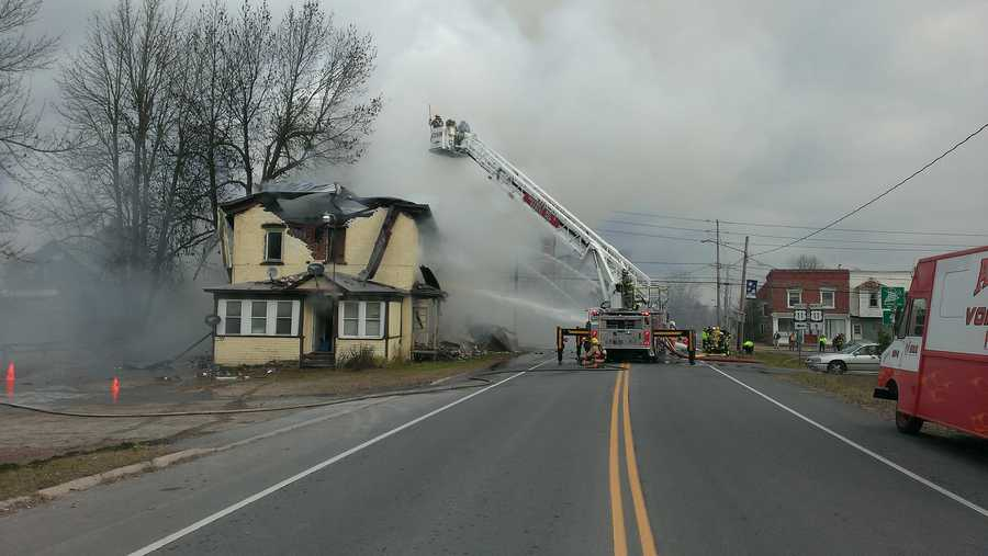 Mooers, Altona and other fire departments responded to the two-story structure at the intersection of routes 22 and 11 around 7 a.m. Monday following a report of smoke.