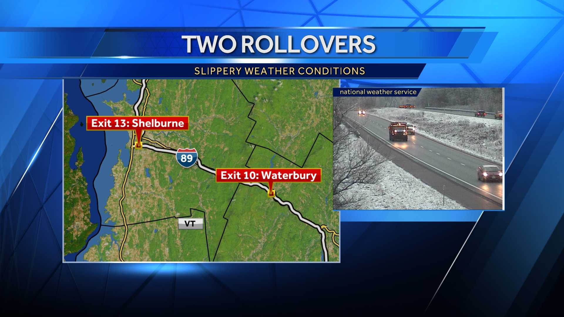 Police are warning drivers to use caution while driving this morning due to slick conditions on the roadway. There have been multiple accidents on I-89