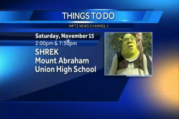 "You can check out ""Shrek"" the musical at Mount Abraham Union High School. There are showings at 2 p.m. and 7:30 p.m."