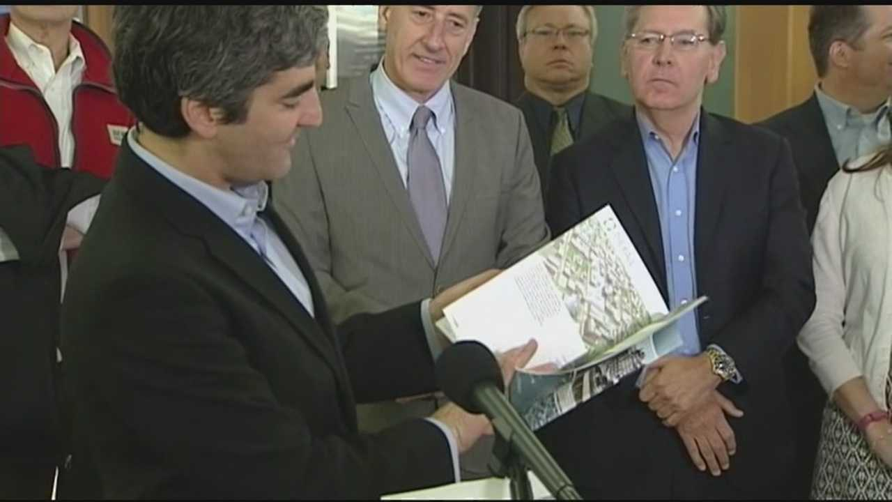 Governor Shumlin and Mayor Weinberger were among those unveiling the massive redevelopment project for the mall.