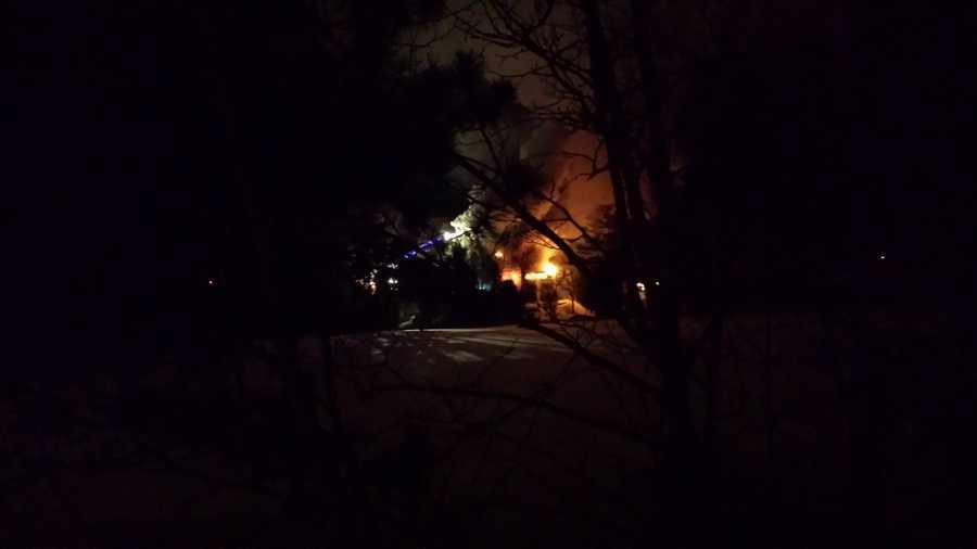 Photo of house fire in Saranac Lake Saturday morning.