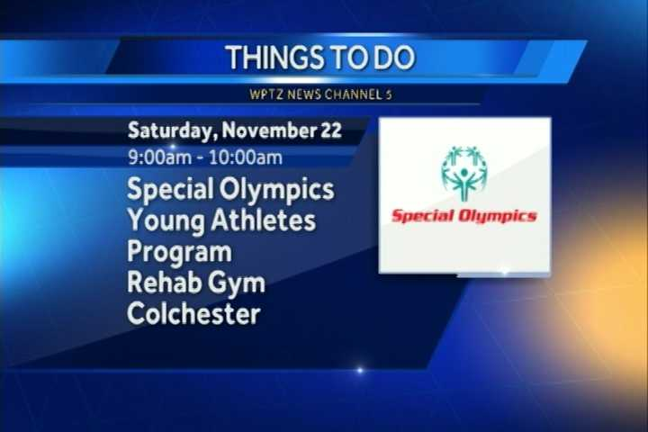 The Special Olympics Young Athletes Program is for kids ages 2 through 7 with and without intellectual disabilities to strengthen physical, cognitive and social development skills. It goes from 9 a.m. to 10 a.m. at the Rehab Gym in Colchester.
