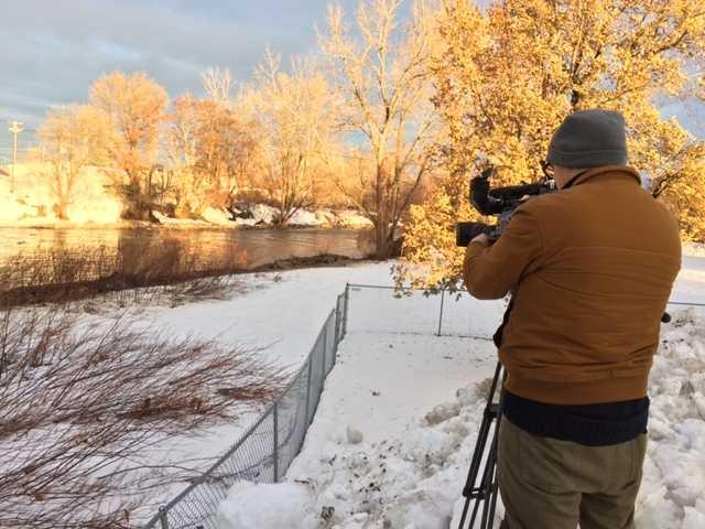 Keeping an eye on the Cazenovia River.