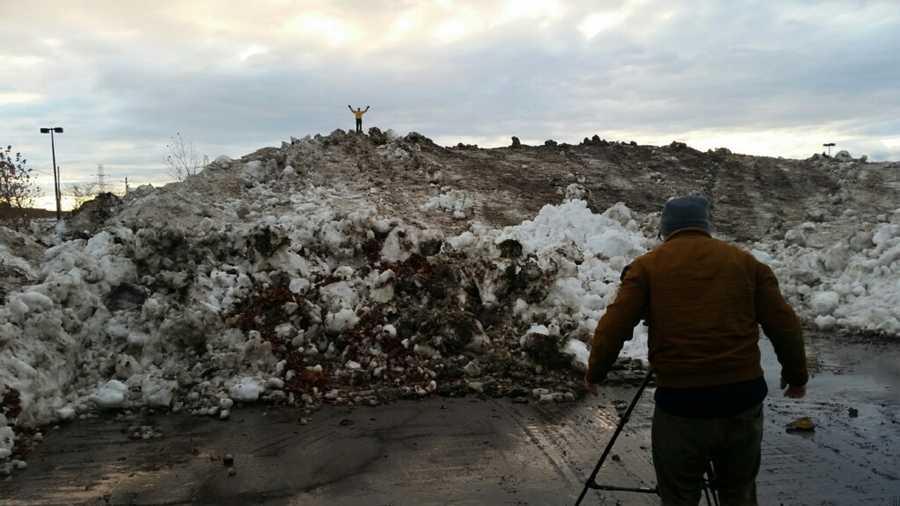 A mountain of snow in West Seneca, N.Y.
