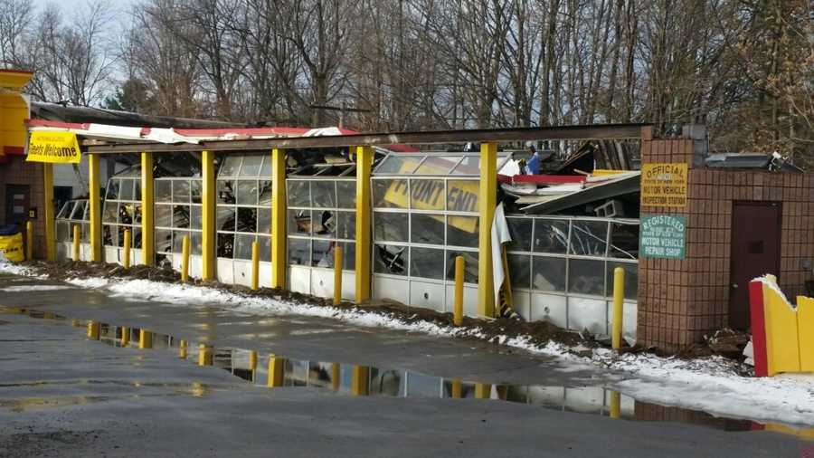 Collapsed roof at a tire shop in Hamburg, NY.