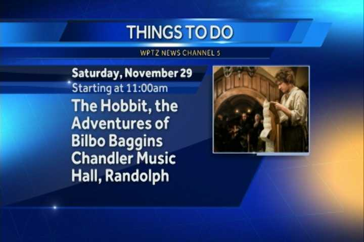 "The puppet show ""The Hobbit, The Adventures of Bilbo Baggins"" begins at 11 a.m. at Chandler Music Hall in Randolph."