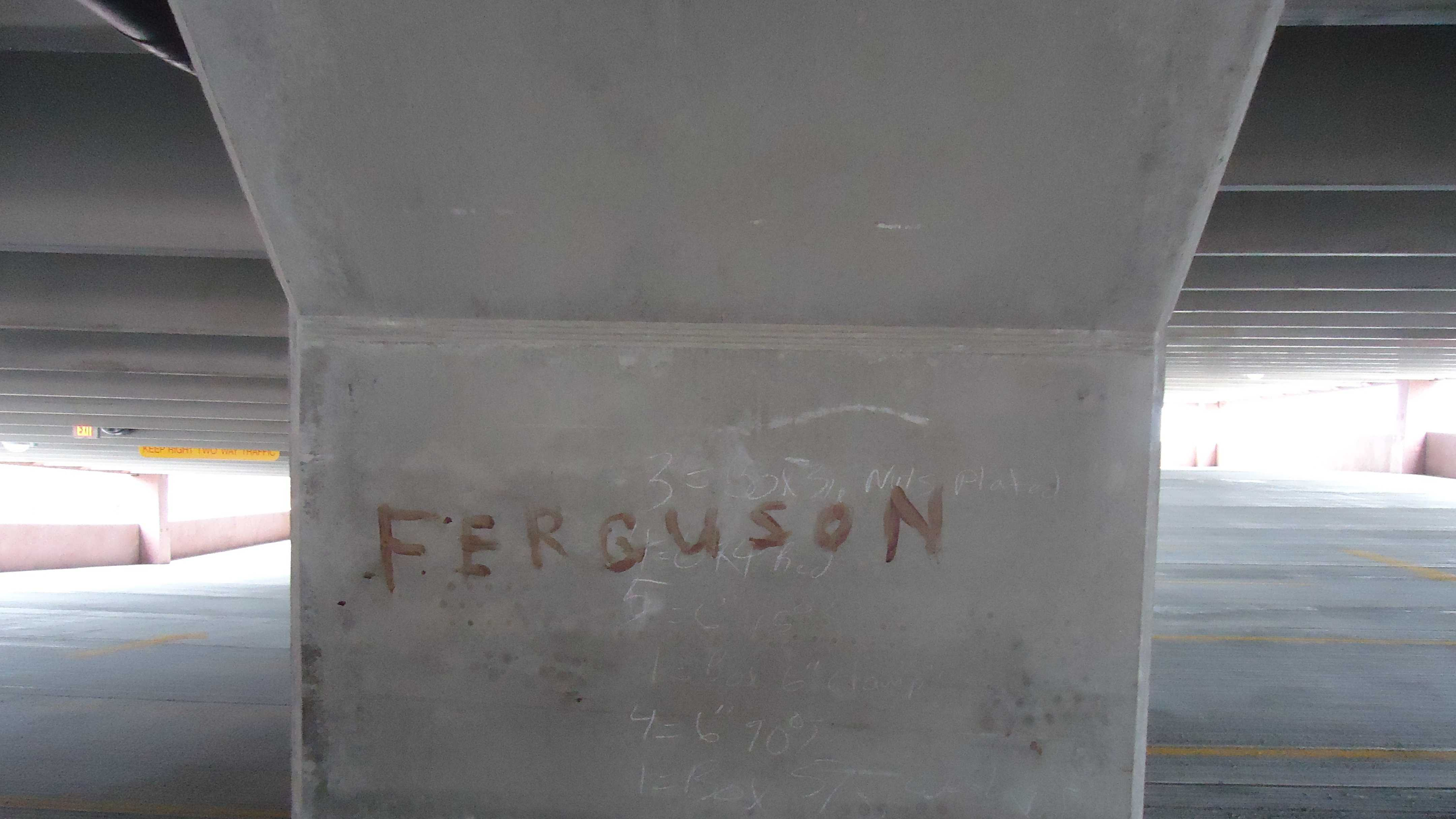 St. Albans police are looking for information related to an incident of vandalism that occurred at the city garage on Lake Street. Police say the word Ferguson was written in a red substance across one of the pillars.