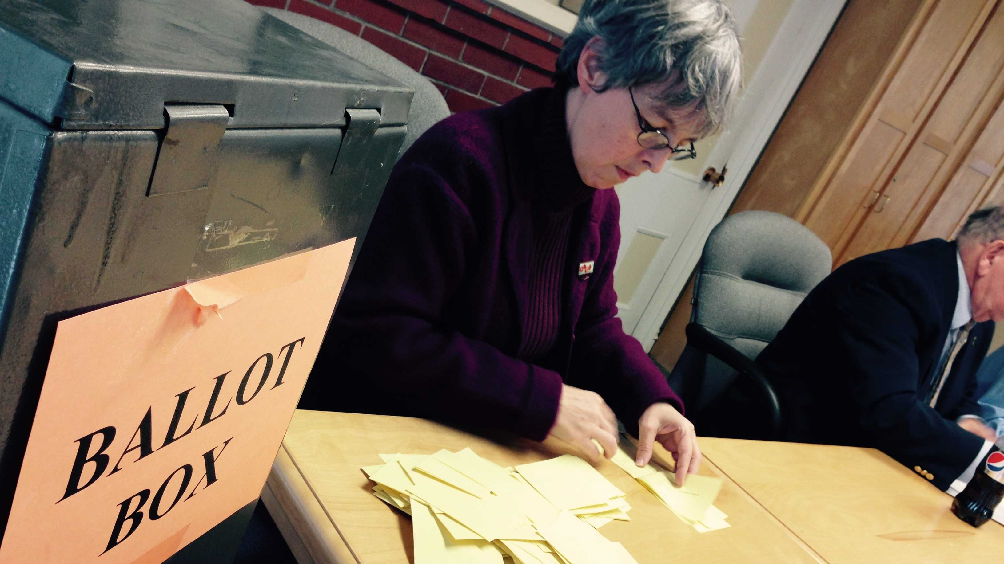 Counting the votes Tuesday at the Vermont Labor Relations Board in Montpelier.
