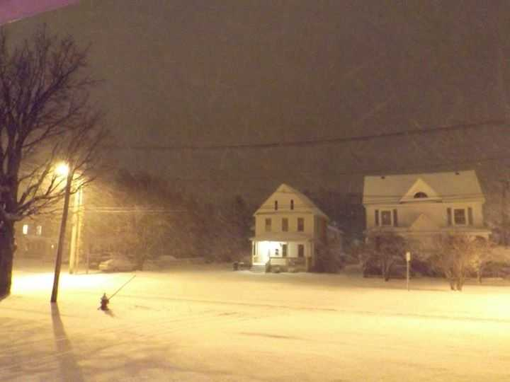 Snow in Plattsburgh from David O'Connell.