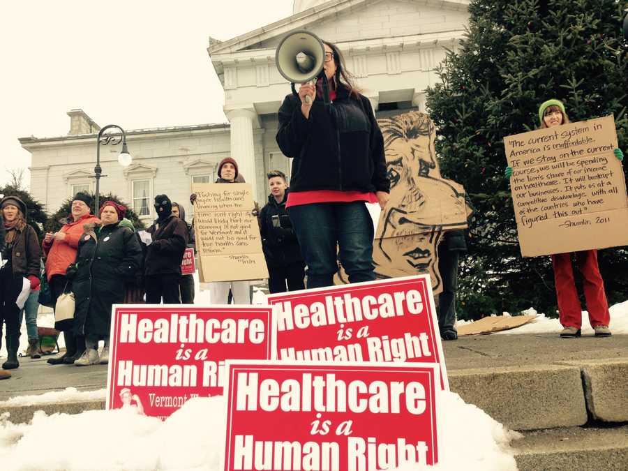 Protestors call Governor Peter Shumlin a liar.