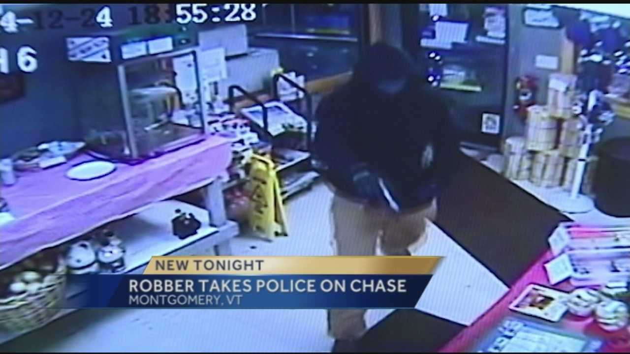 Surveillance footage of robbery at The Sticks Country Store in Montgomery, VT.