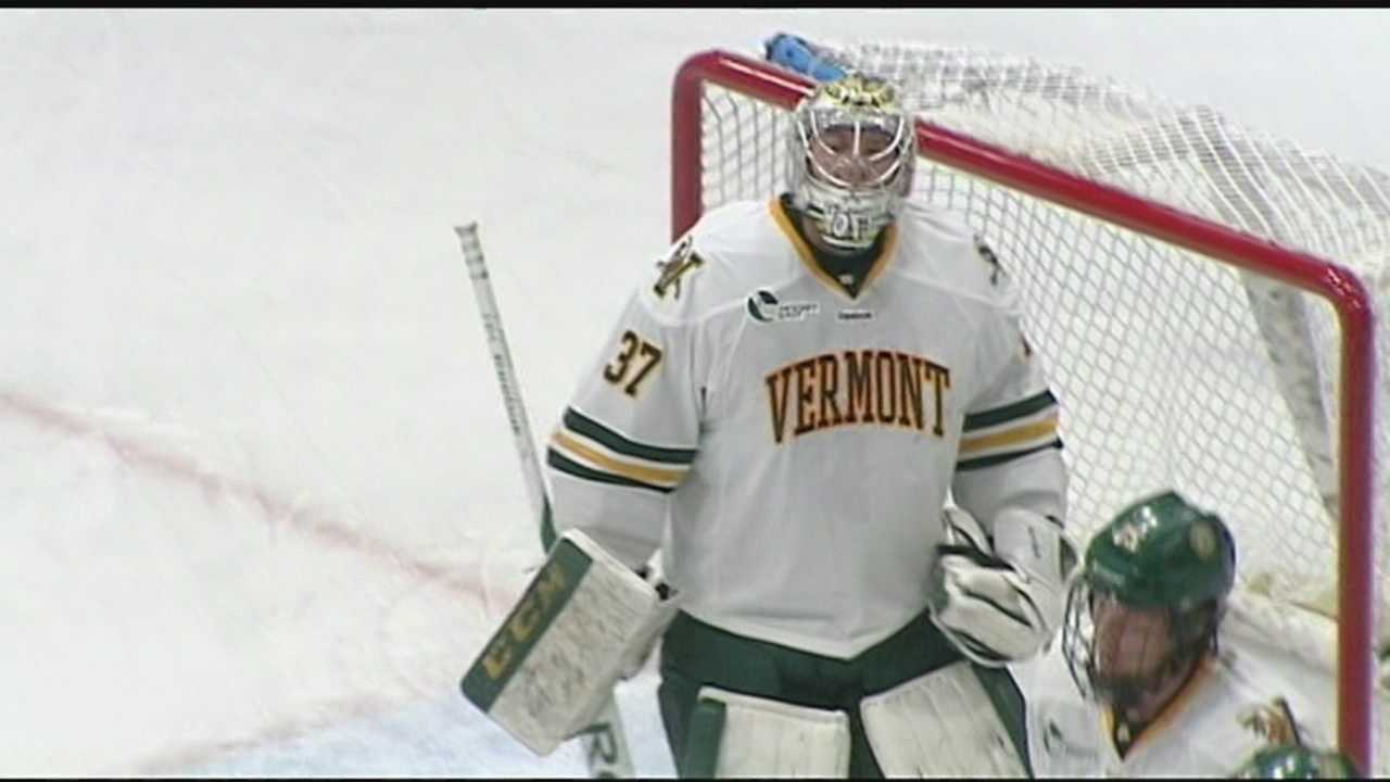 Vermont men's hockey has 2 of the best between the pipes, Ken Drake has more.