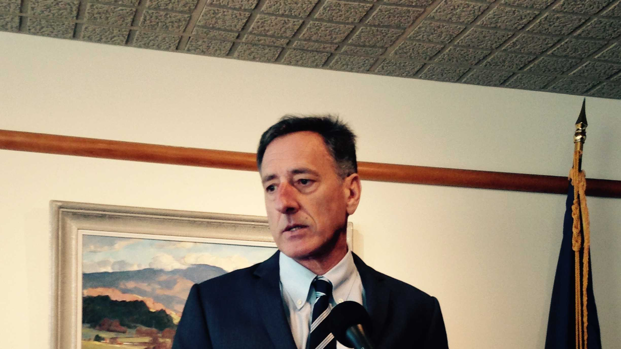 Gov. Peter Shumlin speaks at his year-end news conference Tuesday in Montpelier.