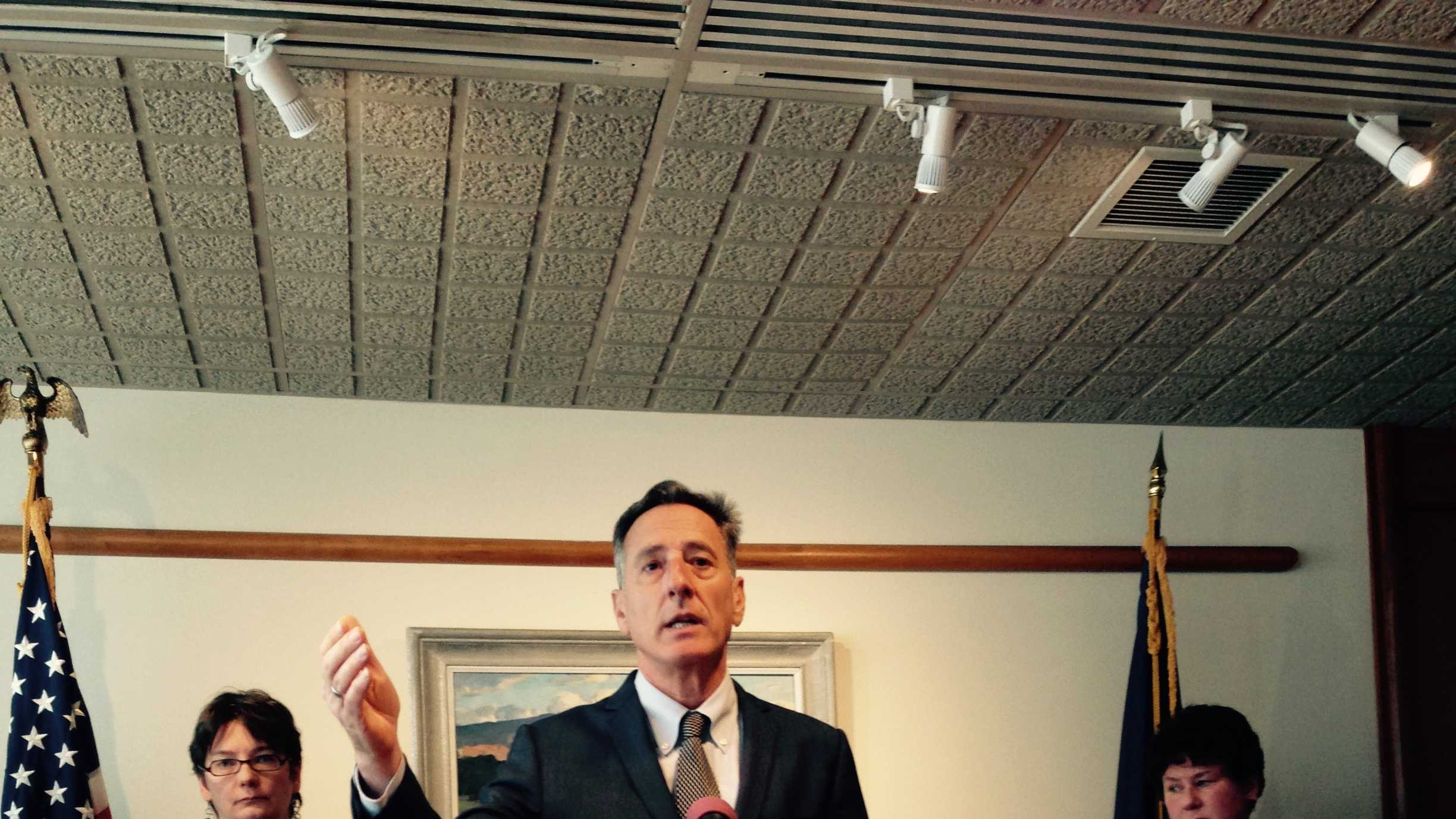Gov. Peter Shumlin speaks at a news conference Monday in Montpelier and endorsed a constitutional amendment changing how Vermont elects the governor.