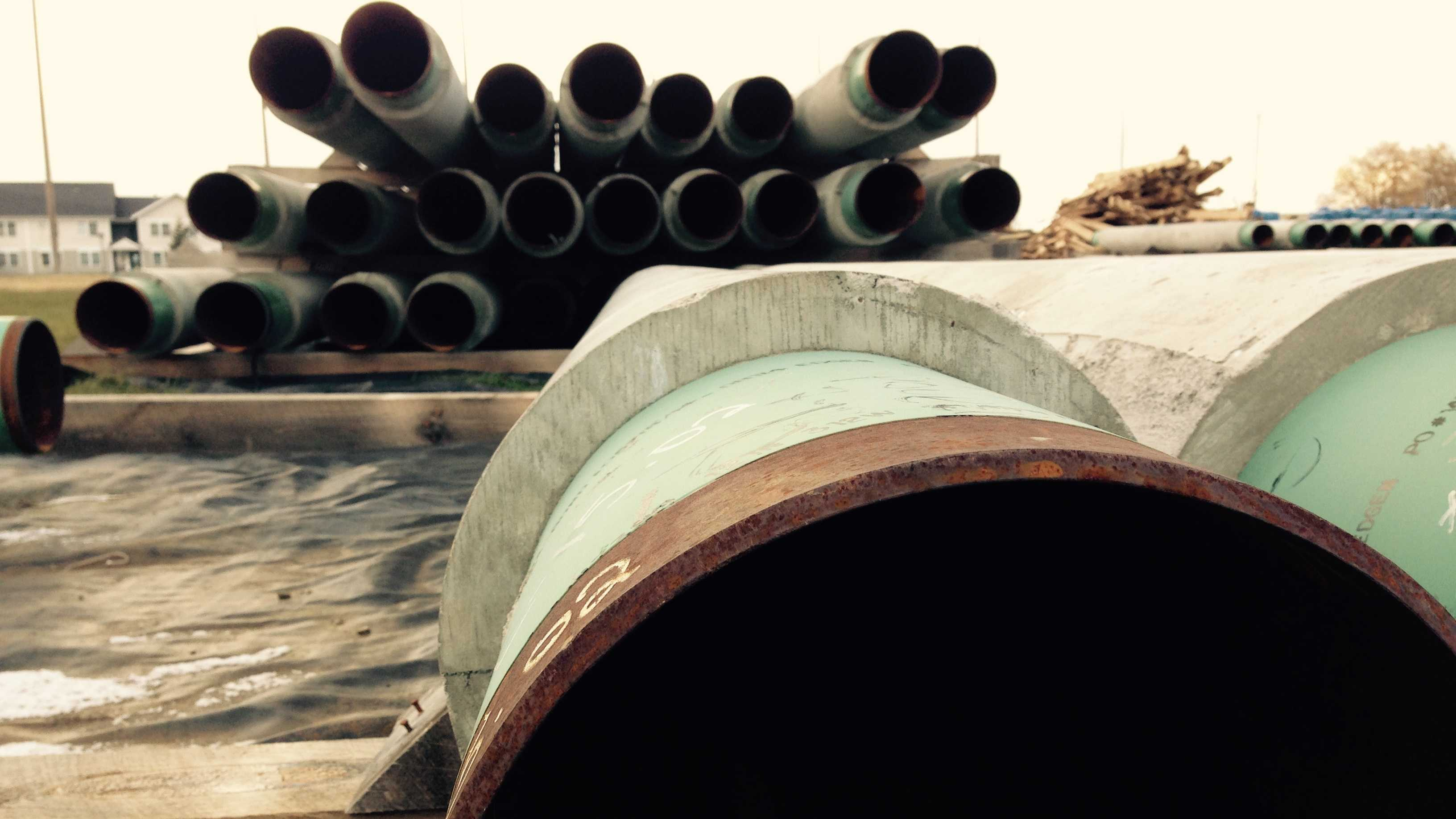 Sections of Vermont Gas pipe ready for welding in Williston.