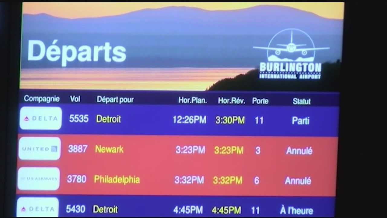 On Tuesday, flights from Burlington to Philadelphia and New York City area airports were cancelled. Flights from BTV to JFK are cancelled until Wednesday.
