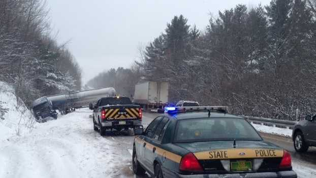 A multiple-vehicle accident involving a jackknifed tractor-trailer closed I-89 on Friday morning.