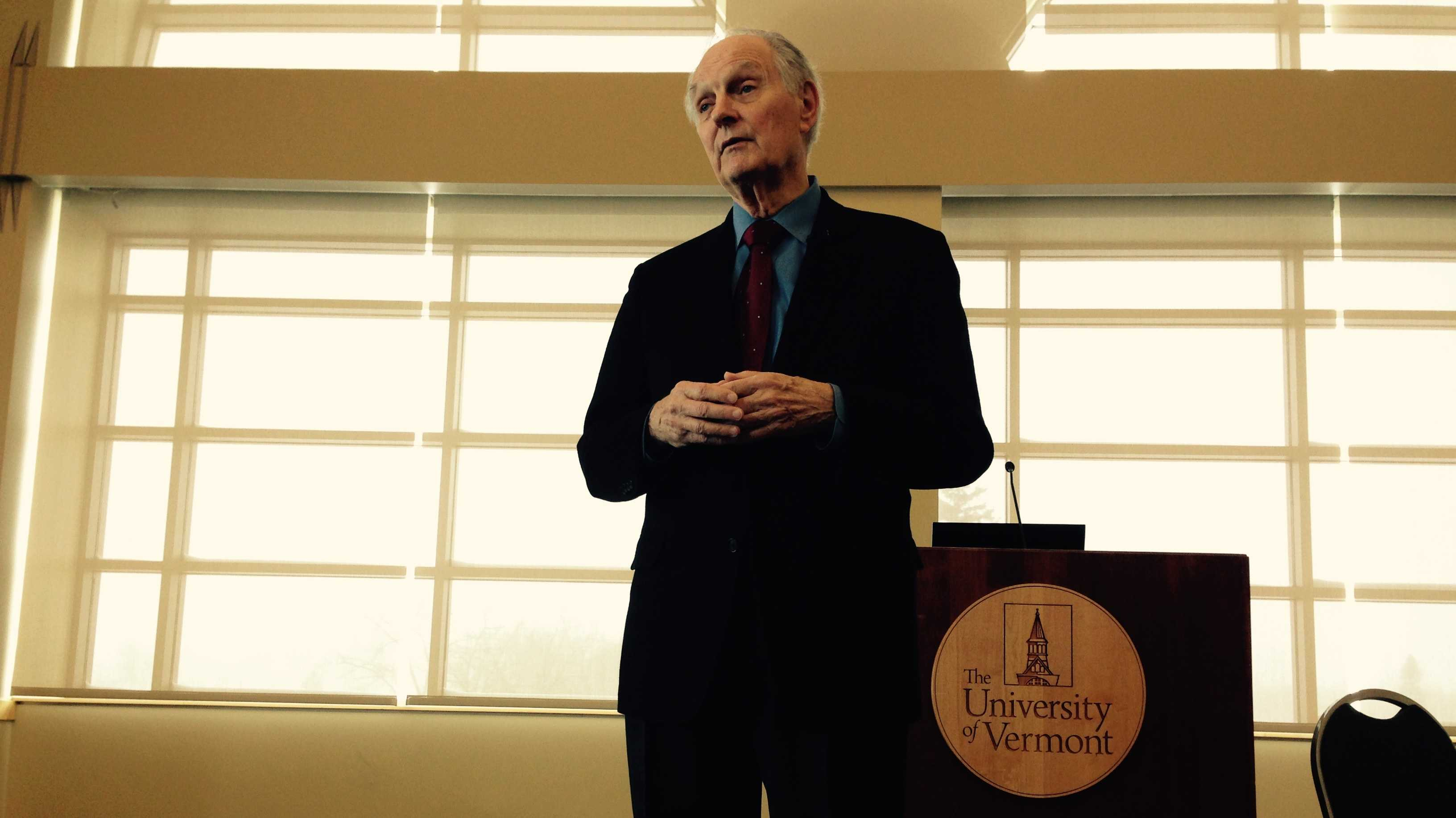 Veteran stage and screen actor Alan Alda is conducting a workshop for scientists at the University of Vermont.