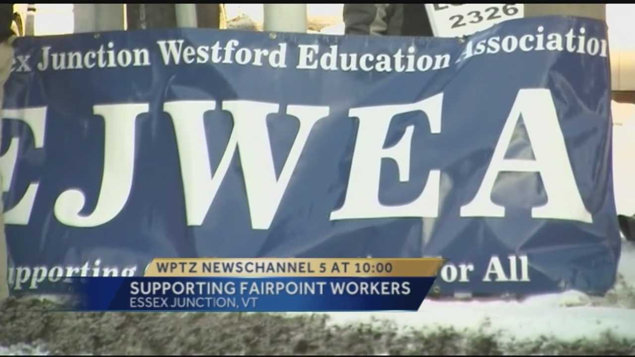 Essex Junction educators stood with striking Fairpoint workers in solidarity Thursday afternoon.