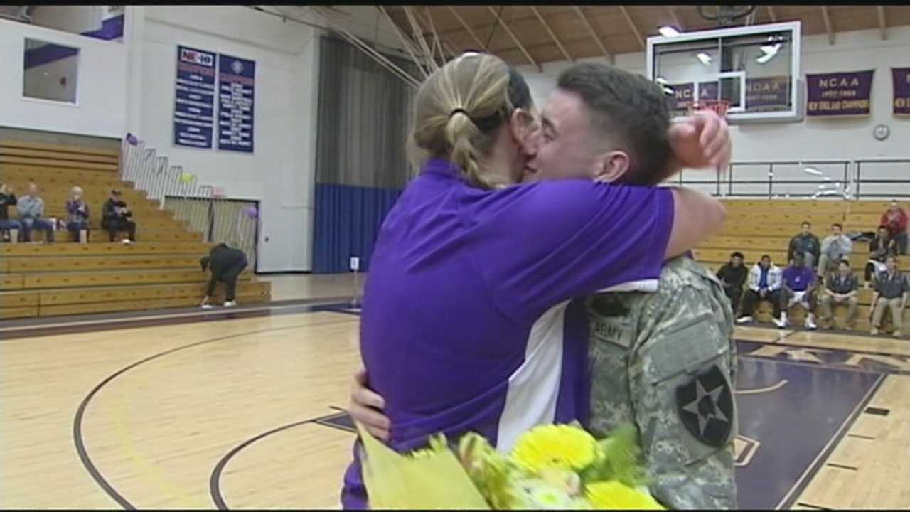 Kelly got a great surprise from her army husband before her senior day game.