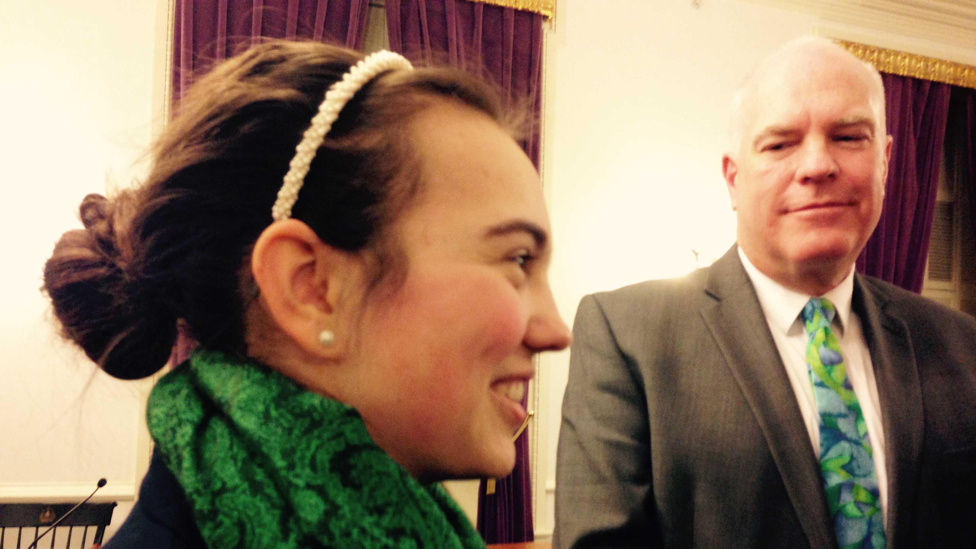 Angela Kubicke, 15, with Sen. Joe Benning at the Statehouse Wednesday.