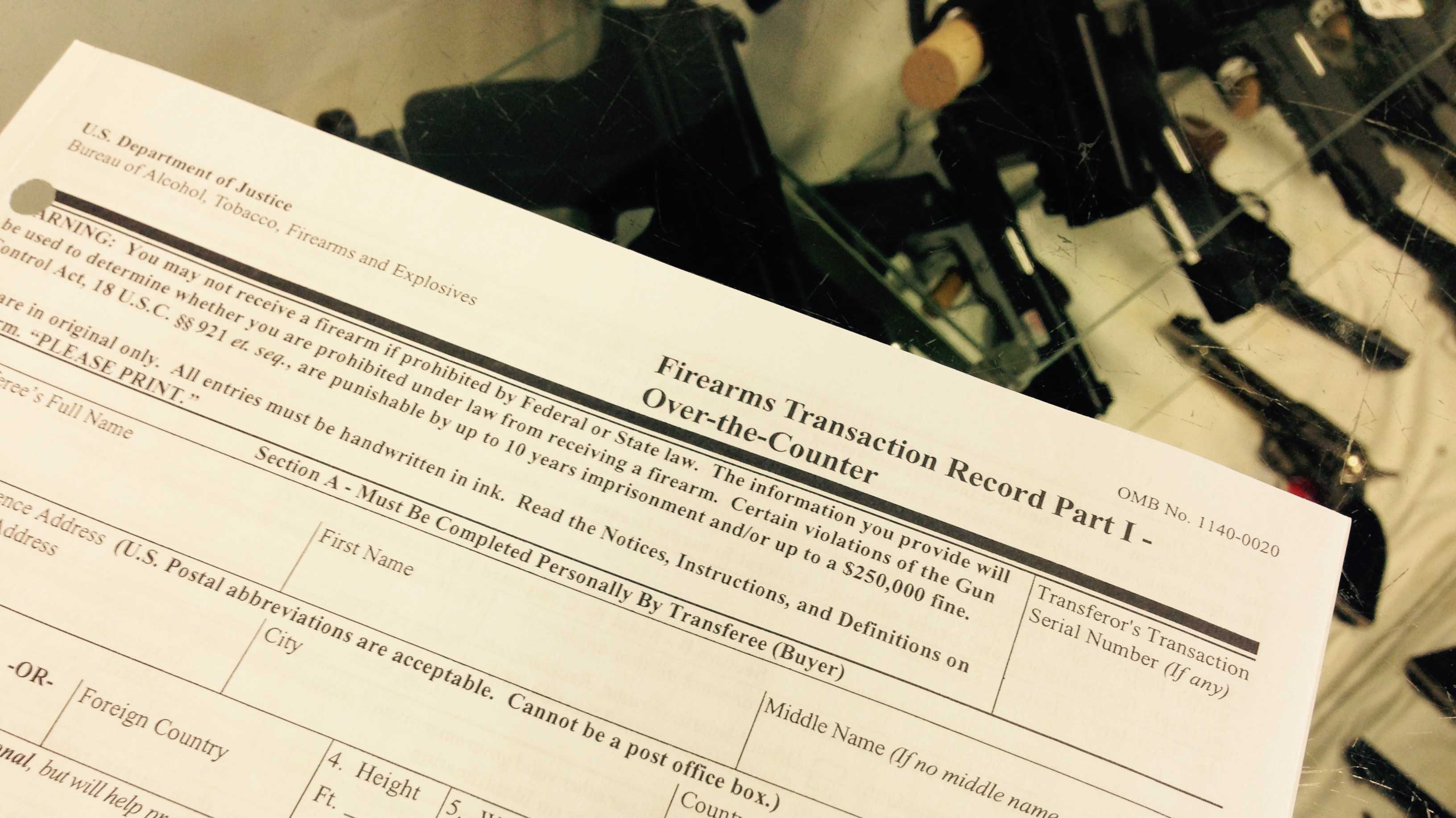 ATF form used to conduct background check before gun sales.