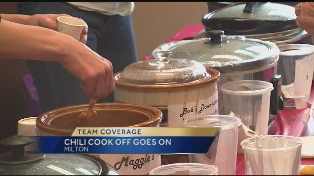 Some Milton Winter Festival activities were canceled Sunday because of the cold weather. One event still went on, the chili cook-off. Organizers say they were surprised with the great turnout.