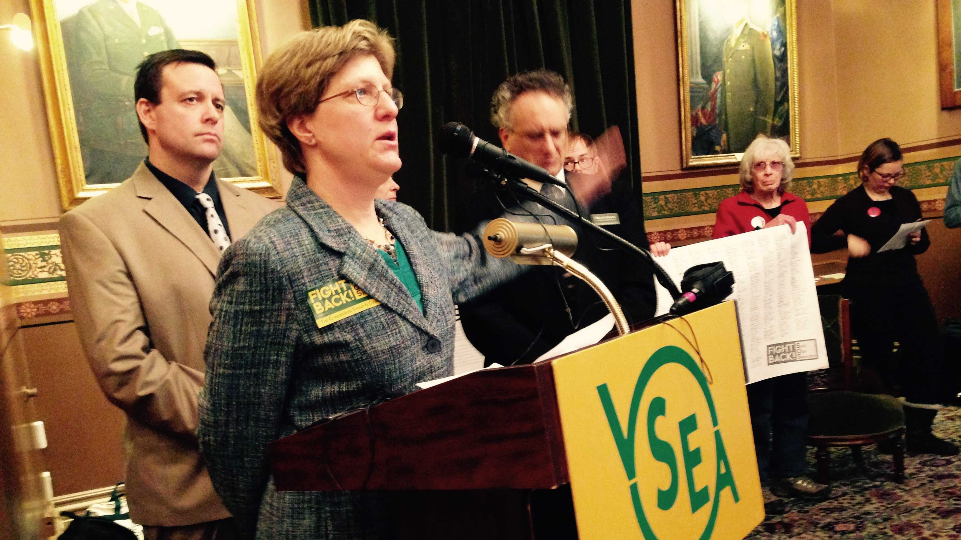 Dr. Leslie Matthews, a state employee, speaking at the VSEA's 'Fight Back' news conference Thursday.
