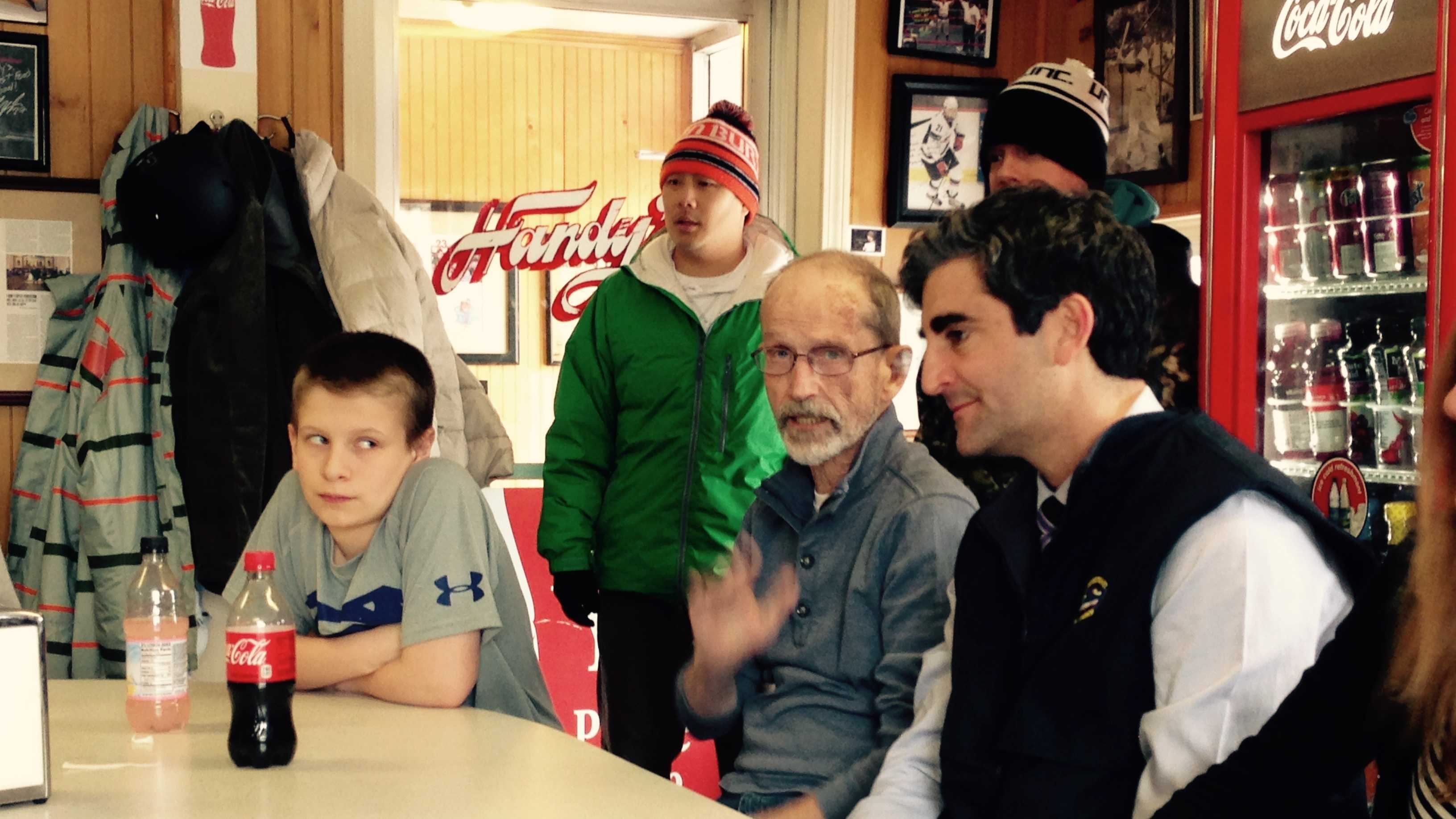 Mayor Miro Weinberger makes a campaign stop at Handy's Lunch on Maple Street Monday.