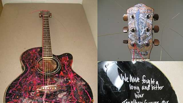 This guitar was left in place of a guitar that was stolen Monday from Advance Music in Burlington, police said.