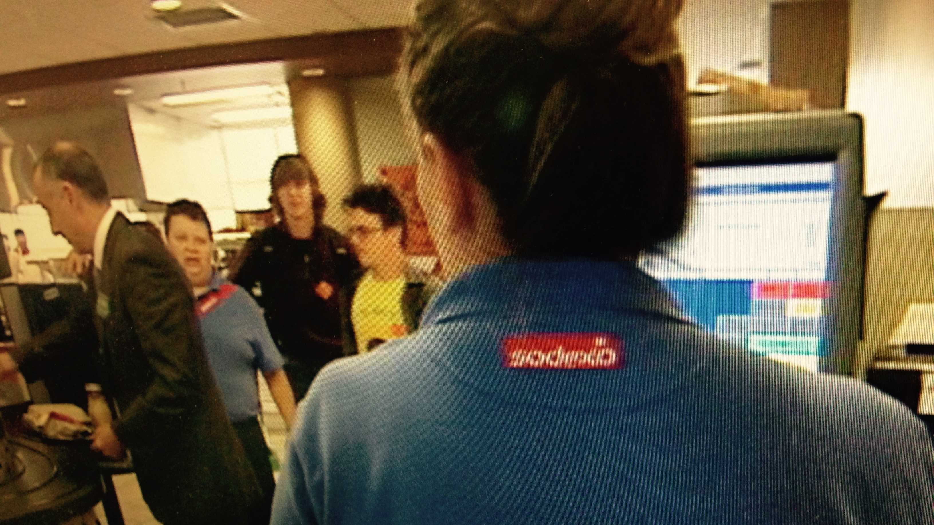 Sodexo staffers at the cafeteria at the University of Vermont Davis Center.
