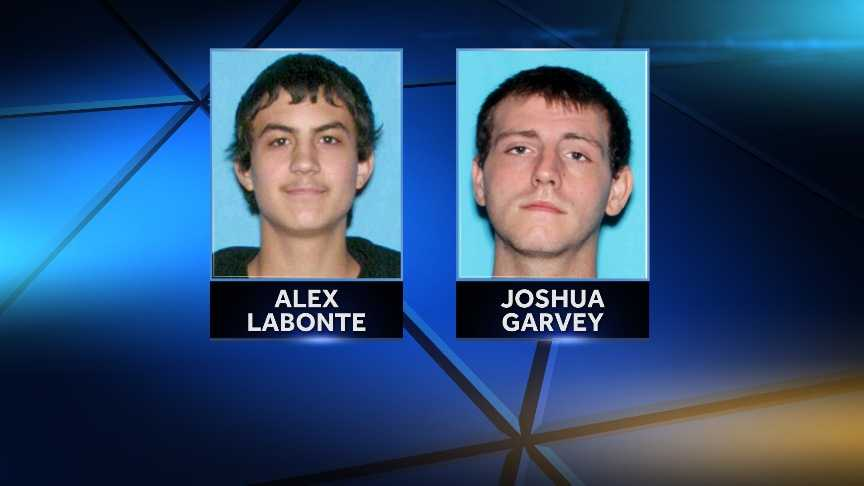 Alex Labonte, 21, of Fairfax, Vt. and Joshua Garvey, 19, of Burlington, Vt. are accused of attacking another man in Burlington, Vt. on April 1, 2014. The pair are charged with aggravated assault.