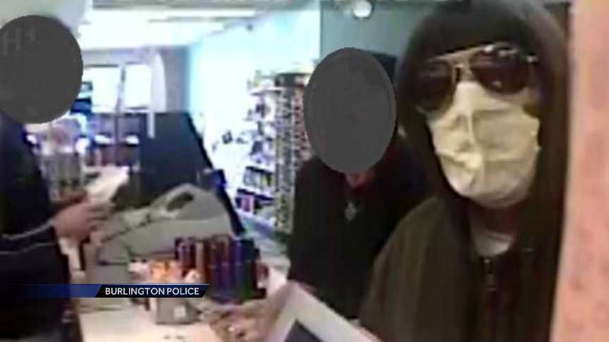 Police are looking for the man with the mask on who allegedly robbed the Lakeside Pharmacy in Burlington at 4:45 p.m. Friday