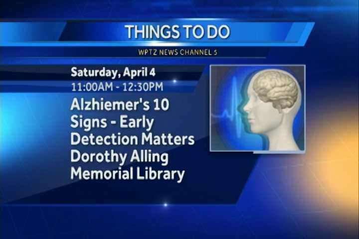 If you would like to know more about Alzheimer's disease, you might want to consider attending the Alzheimer's 10 Signs: Early Detection Matters presentation.  It goes from 11 a.m. to 12:30 p.m. at the Dorothy Alling Memorial Library in Williston.  There, you can find out the facts and learn early detection signs of the disease.