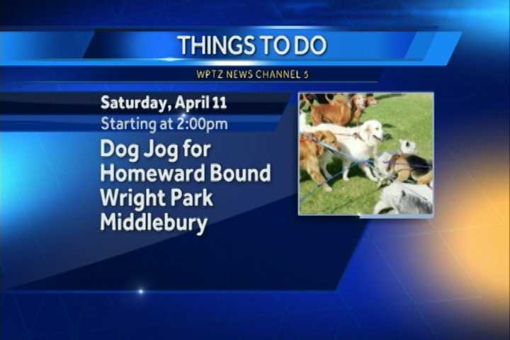 Looking for something to do with your dog?  How about a 5K?  The Dog Jog for Homeward Bound begins at 2 p.m. at Wright Park in Middlebury.  Registration starts an hour before.