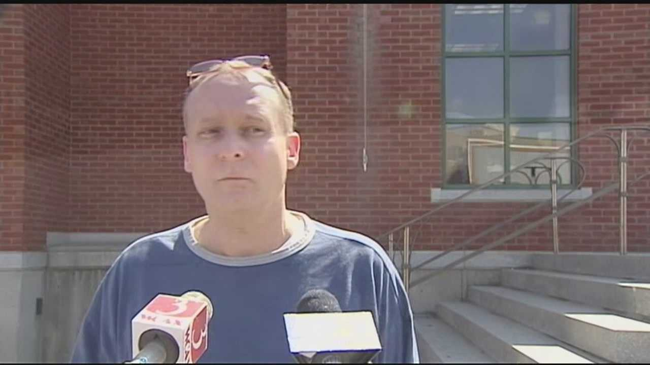 Richard Laws speaking to reporters after pleading not guilty in St. Albans.