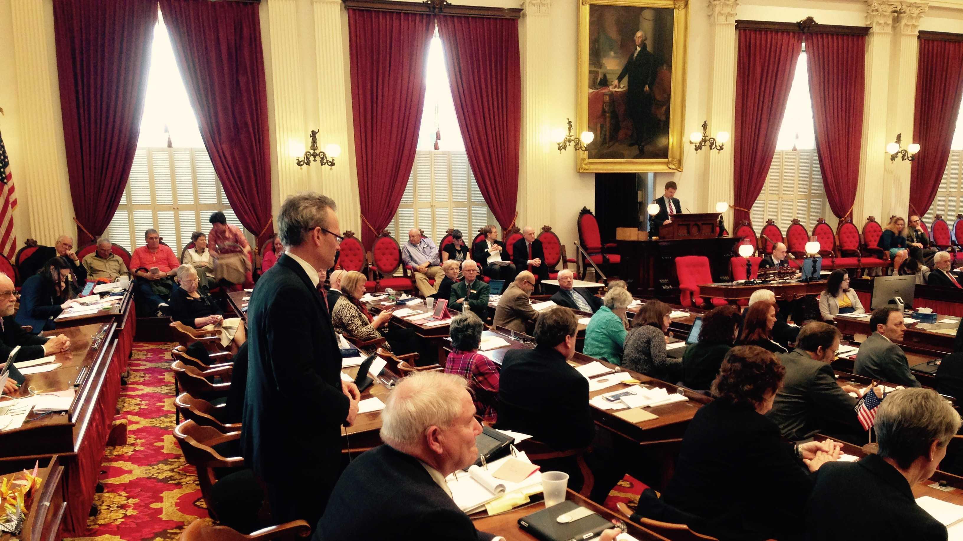 Rep. Willem Jewett (D-Ripton) argues in favor of the gun bill on the House floor Thursday.