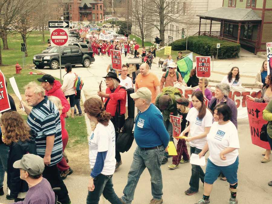 May Day Rally: Hundreds of protesters entered at the Statehouse in Montpelier to denounce budget cuts they say target state workers and hurt public services.