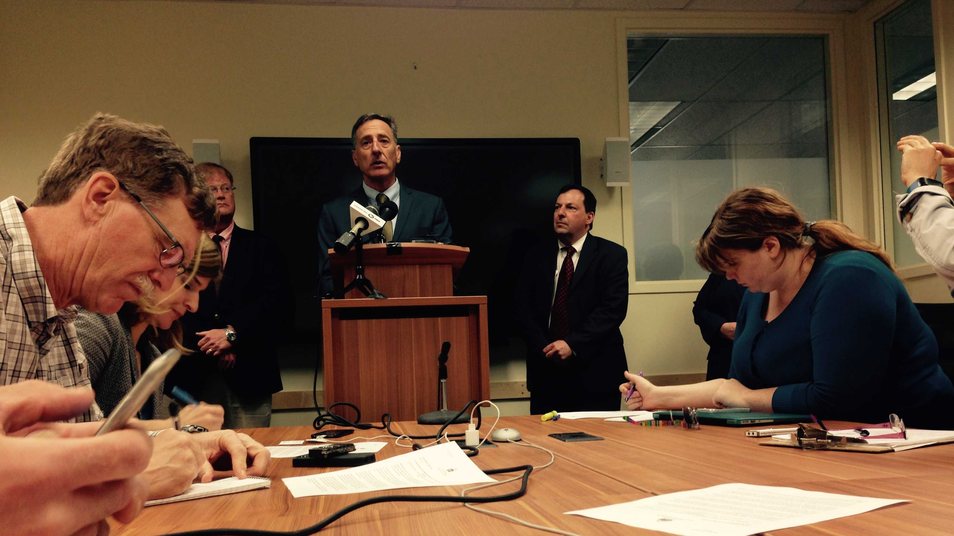 Gov. Peter Shumlin takes questions at his weekly news conference in Montpelier.
