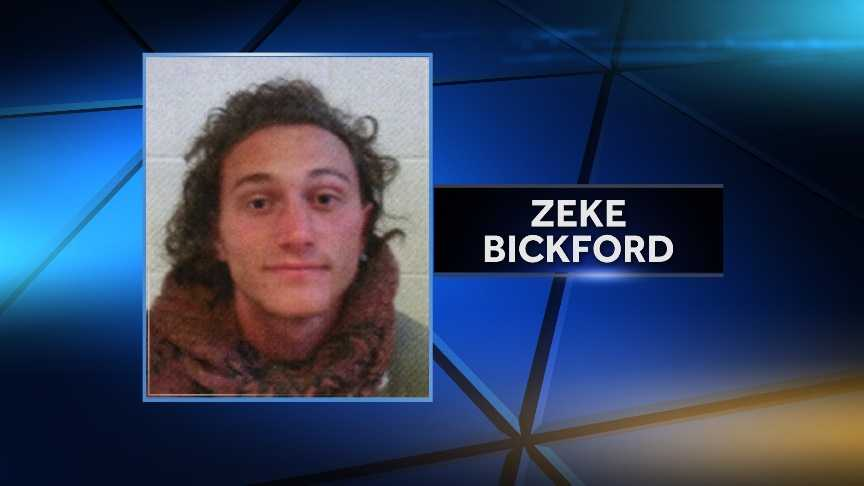 Zeke Bickford, 21, was arrested on May 14, 2015 on aggravated assault for allegedly threatening people with a knife near TD Bank in Winooski, Vt.