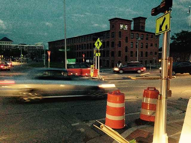 Traffic lights were out in downtown Winooski on Wednesday night during a power outage.