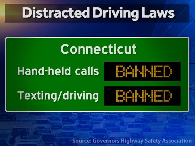 Connecticut: Hand-held calls are illegal and texting while driving is illegal.