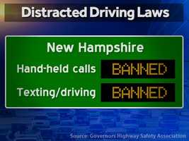 New Hampshire: Hand-held calls are illegal and texting while driving is illegal.